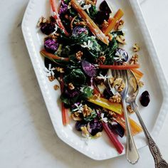 Salad recipe by Pip McCormac for Rainbow chard salad with jasmine dressing recipe and other summer recipes from Red Online Beef Lettuce Wraps, Lettuce Wrap Recipes, Beef Recipes, Salad Recipes, Easy Recipes, Summer Lunch Recipes, Rainbow Chard, Edible Flowers, Dressing Recipe