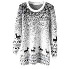 Black Mohair Reindeer Pullover Gradient Ugly Christmas Sweater ($18) ❤ liked on Polyvore featuring tops, sweaters, shirts, black, black top, mohair pullover, pullover tops, shirts & tops and black pullover