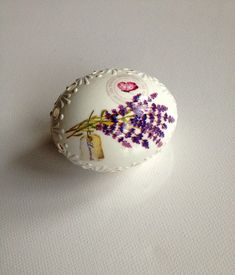 White Egg Madeira and Wax Decorated Lavender-Decoupage