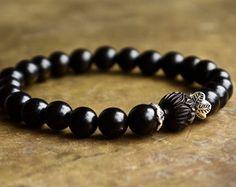 Blue evil eye bracelet Mens lucky bracelet Good by ThePillowBook