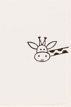 Funny Giraffe peek-a-boo stamp kids gift Around door WoodlandTale