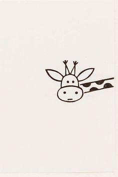 Funny Giraffe peek-a-boo stamp kids gift Around door WoodlandTale