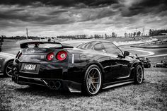 Nissan Skyline GT-R R35 Black And White Car Auto Poster
