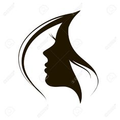 Beautiful woman face and hair Fashion icon Illustration , Silhouette Logo, Silhouette Painting, Woman Face Silhouette, Face Stencils, Stencil Art, Pencil Art Drawings, Art Sketches, Makeup Artist Logo, Beauty Salon Logo