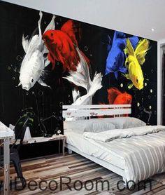 Golden Fish Yellow Blue Red Modern 000010 Wallpaper Wall Decals Wall Art Print Mural Home Decor Gift Office Business