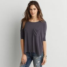 AEO Soft & Sexy Draped Pocket T-Shirt ($30) ❤ liked on Polyvore featuring tops, t-shirts, true black, crew neck tee, american eagle outfitters, pocket t shirts, oversized tee and sexy tee