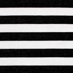 Denim Black and White Stripe Sweatshirt Knit Fabric