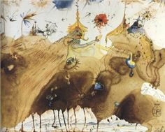 Salvador Dali (1904 - 1989) | Surrealism | The Mountains of Cape Creus on the March