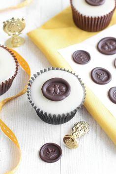 "Chocolate ""Wax"" Seals on Poured Fondant Honey Cupcakes Recipe"