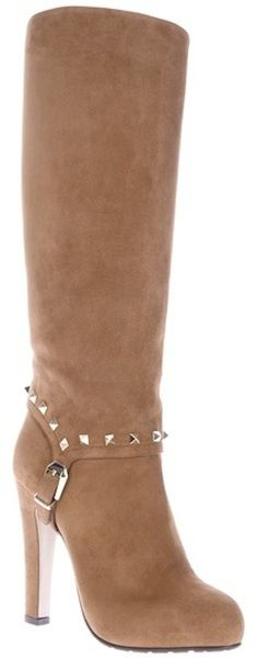 Ladies shoes Valentino Buckle Detail Boot in Beige brown Lyst 6771 |2013 Fashion High Heels|