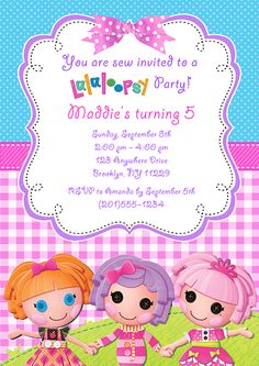 Lalaloopsy Doll Birthday Party Invitations-lalaloopsy,doll,birthday,personalized,  party,invitations,invitation,lalaloopsy birthday party invitations
