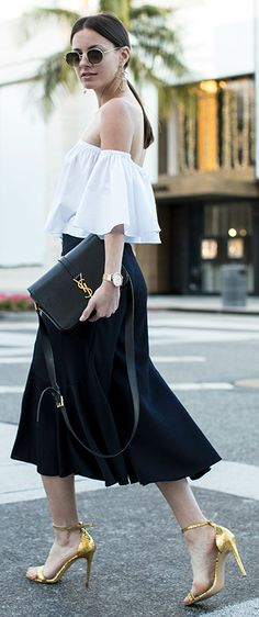 Zina Charkoplia + utterly elegant + gorgeous black and white combo + off the shoulder bell sleeved blouse + simple pleated midi skirt  + pair of statement heels + Zina's aesthetic!  Trousers/Top: Zara, Sandals: Smiling Shoes, Bag: Saint Laurent.