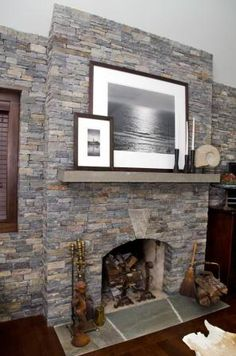 Interior, Fireplace, Wall, Keystone, Thin Ledge Stone, Rustic, Adirondack, Warm, Earthtones, Weathered, Brown, Russet Orange, Amber, Aged, American Granite™