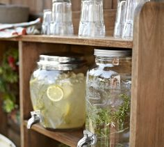 Mason Jar Drink Dispenser | Pottery Barn ....... it would be fun to have a garden shelf for party ware
