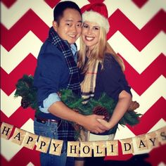 Holiday photo-booth style Couple Christmas Card.