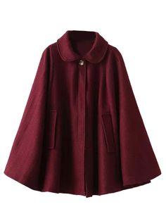 Wine Red Lapel Poncho Cape Woolen Coat | Choies