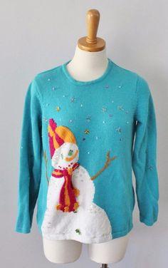 Ugly Christmas Sweater Women M Men S snowman Sequins blue Susan Bristol CS27 #SusanBristol #Crewneck
