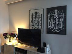 Marta Banaszak ISLAMIC CALLIGRAPHY in black and white linocut 100 x 70 cm Islamic Calligraphy, Printmaking, Flat Screen, Black And White, Home Decor, Blood Plasma, Decoration Home, Black N White, Room Decor
