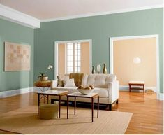 paint color for dining room- (Behr) - SCOTLAND ROAD with FROST trim and beige walls in hallway. #homeimprovementScotland,