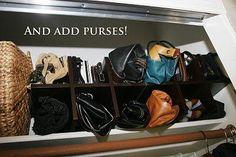 Wine rack, purses, organization!