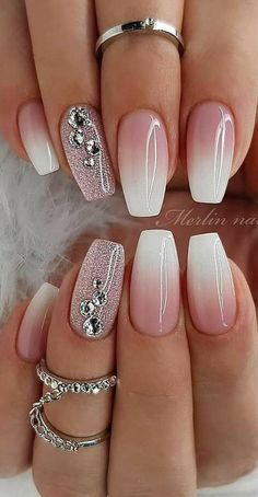 Superb Nail Designs for Women in Year 2019 - Nails Styles - Nageldesign Ombre Nail Designs, Cool Nail Designs, Ombre Nail Art, Sparkle Nail Designs, Glitter Nail Art, Designs For Nails, How To Ombre Nails, Acrylic Nails For Summer Glitter, Acrylic Ombre Nails