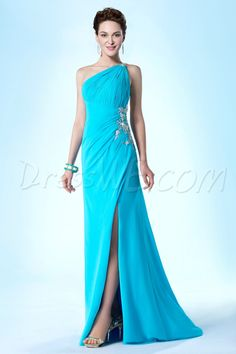 New Fashionable One Shoulder Column/Sheath Beading Sweep/Brush Evening/Prom Dress $247.99 Evening Dresses 2014
