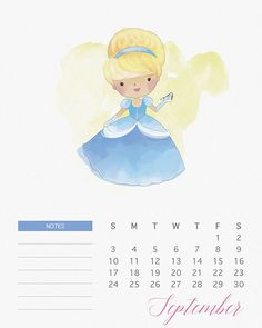 Free Printable 2017 Watercolor Princess Calendar
