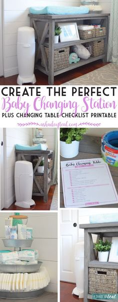 Organize your nursery and learn how to create the Perfect Baby Changing Station. Plus a Free Checklist Printable! #PrepTheNest #ad | A Shade Of Teal