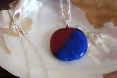 Burgundy and Navy Silver Glass Necklace by lizrubi on Etsy, $25.00