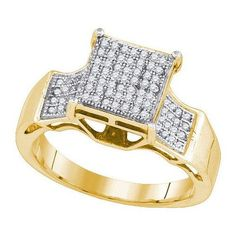 10k Yellow Gold 0.27Ctw-Dia Micro-Pave Bridal Ring