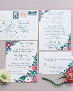 The bride's best friend,Alex Fairchild, did the artwork for the invite, and Kelle McCarter handled the calligraphy. The collaboration resulted in one-of-a-kind stationery pieces.