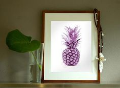 Pineapple - purple print Wallstudio - | Welcome to the Tropics Collection