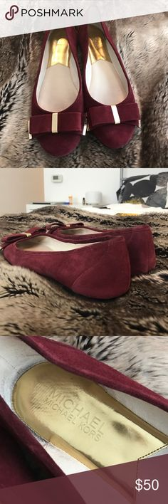 Michael Kors suede ballet flats Beautiful dark red suede ballet flats with  leather soles and gold 1e4d8567c1504