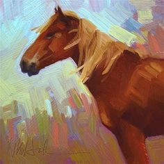 "Daily Paintworks - ""Tailwind"" - Original Fine Art for Sale - © Whitney Hall. Quick and simple brushstrokes in this painting capture this horse well. Horse Paintings, Fine Art Gallery, Brush Strokes, Art For Sale, Buy Art, Art Ideas, Original Paintings, Horses, Simple"
