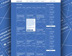 Blueprint themed wireframe designer derek clark ux ui social network ui ux blueprint wireframe malvernweather Choice Image