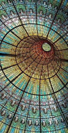 Barcelona, Spain: Extremely intricate stained glass on ceiling of Palau de Catalan Music in Barcelona. Example of beautiful art nouveau. Beautiful Architecture, Beautiful Buildings, Art And Architecture, Architecture Details, Beautiful Places, Simply Beautiful, Art Nouveau, Stained Glass Art, Belle Photo