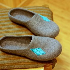 Men felted wool slippers  natural house shoes by AgnesFelt on Etsy,