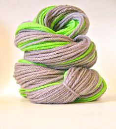 Hand dyed yarn Silver Neon Green Worsted weight by SunriseFiberCo, $18.00