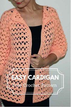 [Video Tutorial] Easy Crochet Sweater Pattern For Beginners Crochet Cardigan Pattern, Crochet Jacket, Crochet Stitches Patterns, Crochet Blouse, Crochet Flower Patterns, Pull Crochet, Crochet Saco, Easy Crochet, Crochet Crafts