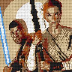 Star Wars Rey & Finn Portrait LEGO® Mosaic - 30 in x 30 in by CreativeSquareStudio Diy Perler Beads, Perler Bead Art, Perle Hama Star Wars, Cross Stitch Designs, Cross Stitch Patterns, Rey And Finn, Pony Bead Patterns, Perler Patterns, Modele Pixel Art