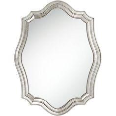 "Noble Park Caterina Silver 29"" X 38"" Quatrefoil Wall Mirror : Target Mirror Hanging Brackets, Rock Floor, Master Bath Remodel, Master Bathroom, Bathroom Mirrors, Silver Wall Mirror, Wood Frame Construction, Vintage Sideboard, Video Wall"