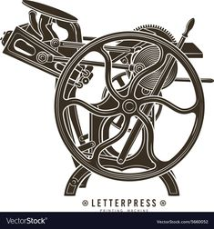 Letterpress printing machine vector image on VectorStock Letterpress Machine, Letterpress Printing, Free Vector Images, Vector Free, Travel Map Pins, Camouflage Patterns, Leather Craft Tools, Printing Press, Vintage Labels