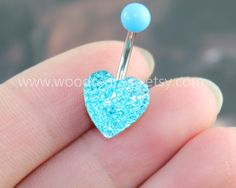 Aqua Blue Crystal Heart belly button ring,Heart Bar Barbell Navel Piercing Ring Stud Piercing