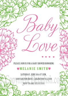 PRINTABLE Pink and Green Floral Shabby Chic Carnation Baby Shower Invitation - Bridal Shower, Birthday - Baby Love Collection - UPRINT on Etsy, $20.00