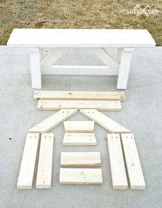 Finished Farmhouse Bench and Wood Cuts for Second Bench 2x4 Furniture, Diy Furniture Plans Wood Projects, Woodworking Projects Diy, Repurposed Wood Projects, Outdoor Furniture, Furniture Storage, Woodworking Bench, Furniture Outlet, Discount Furniture