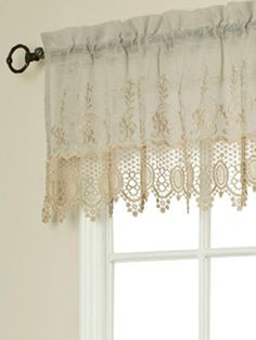 Linen-and-Lace Rod Pocket Tailored Window Valance Lace Curtains, Shabby Chic Bathroom, Linens And Lace, Drapes Curtains, Window Design, Curtains, Kitchen Window Valances, Curtain Designs, French Country Kitchens