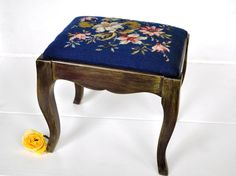 Painted Vintage Footstool Blue Floral by TheVelvetBranch on Etsy, $52.00