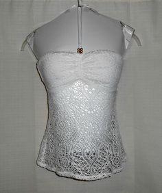 RALPH LAUREN Halter Top Women Beaded Sz S Small White Crochet Look Blue Label #RalphLauren #Halter #Casual