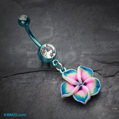Items similar to Colorline Hawaiian Plumeria Flower Belly Button Ring on Etsy Belly Button Piercing Jewelry, Bellybutton Piercings, Cool Piercings, Tongue Piercings, Cartilage Piercings, Body Piercing, Cute Belly Rings, Belly Button Rings, Nose Rings
