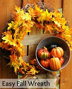 This easy to make fall wreath tutorial is a inexpensive DIY project you can whip up this weekend. You probably have half the supplies in your house already! The post Easy DIY Fall Wreath appeared first on Dekoration. Easy Fall Wreaths, Diy Fall Wreath, How To Make Wreaths, Wreath Crafts, Thanksgiving Wreaths, Wreath Ideas, Holiday Wreaths, Holiday Decor, Fall Wreath Tutorial